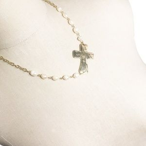 Jewelry - Asymmetrical Gold and Pearl Cross Pendant Necklace